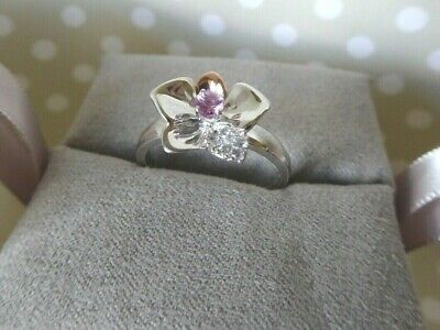 Clogau Gold, Silver & Rose Gold Pink Sapphire Orchid Ring Size O 1/2 RRP £169 • 58£