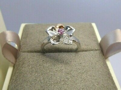 Clogau Gold, Silver & Rose Gold Pink Sapphire Orchid Ring Size O RRP £169 • 58£
