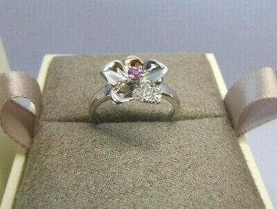 Clogau Gold, Silver & Rose Gold Pink Sapphire Orchid Ring Size N 1/2 RRP £169 • 58£