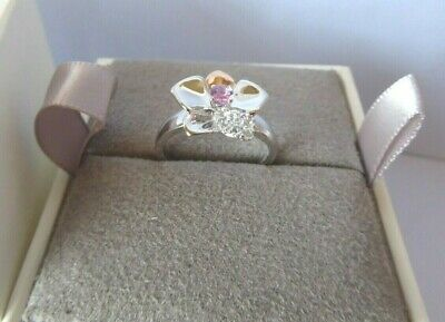 Clogau Gold, Silver & Rose Gold Pink Sapphire Orchid Ring Size K RRP £169 • 58£