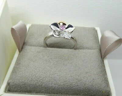 Clogau Gold, Silver & Rose Gold Pink Sapphire Orchid Ring Size L RRP £169. • 58£
