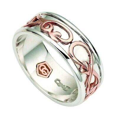 Clogau Welsh Gold Tree Of Life Band Ring Silver With 9ct Rose Gold Trim • 70£