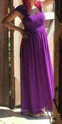 Ever Pretty Purple Simple A-line Long Ruched Chiffon Bridesmaid Dresses • 10£