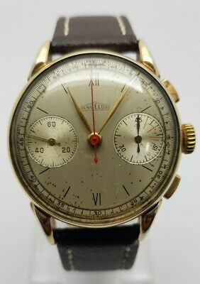 $ CDN458.93 • Buy Vintage Angelus Chronograph Decade Of 1940 Cal. 215 Spider Legs Gold Fillet