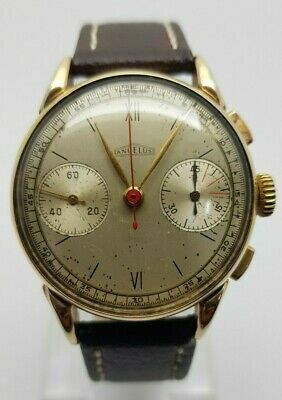 $ CDN90.43 • Buy Vintage Angelus Chronograph Decade Of 1940 Cal. 215 Spider Legs Gold Fillet