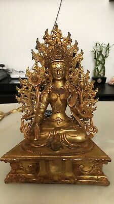 Rare Very Old  Gilt And Bronze Tara  Buddha With Markings / Detachable Back • 3.20£