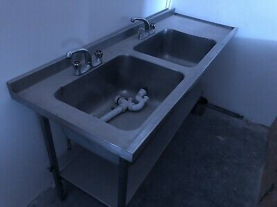Conmercial Double Stainless Steel Sink • 77£