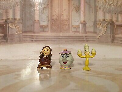 Disney Mini Beauty And The Beast Mrs Potts Cogsworth And Lumiere Figures • 9.95£