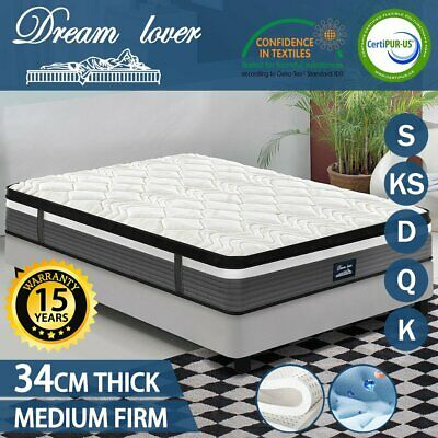 AU191.20 • Buy Queen King Single Double Mattress Size - Cool GEL Memory & Latex- Pocket Spring