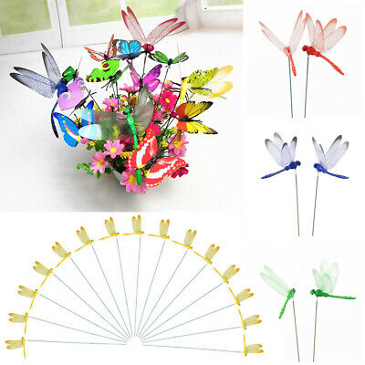 Garden Decor Artificial Dragonfly Simulation Butterfly With Stem Thin Stick • 4.65£