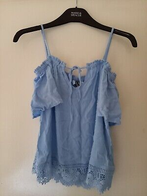 H&M Pale Blue Off The Shoulder With Straps Top Size S • 4£