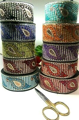 B3) 1 Meter Metallic Ribbon Sewing Craft Trimming Haberdashery Embellishment • 1.99£