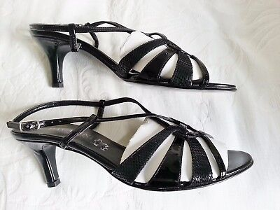 Italian Black 'Patent Leather' Sandals  - Size 5   • 18£