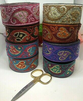B3) 1 Yard Metallic Ribbon Sewing Craft Trimming Haberdashery Embellishment • 1.99£