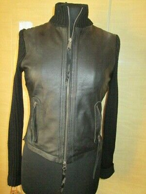 River Island Black Leather And Knitted Zip Up Cardigan Size 8 • 5£