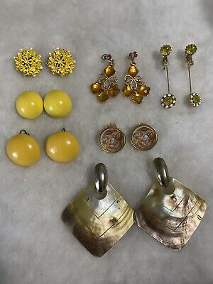 $ CDN9.84 • Buy Gold Tone Yellow Color Lot Of Earrings X 7 Used