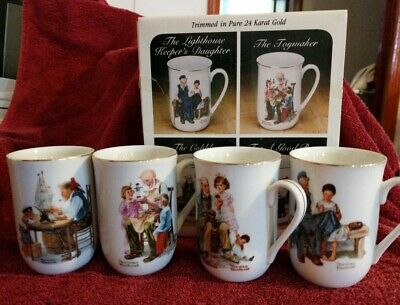 $ CDN10.19 • Buy Vintage Norman Rockwell Set Of 4 Museum Collection 1982 Coffee Mugs Cups NIB