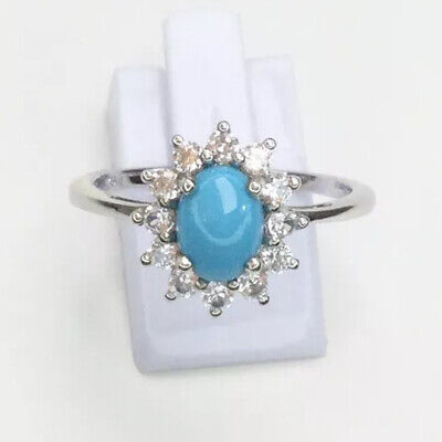 Sleeping Beauty Turquoise & Topaz Ring, Sterling Silver, Size U • 26£