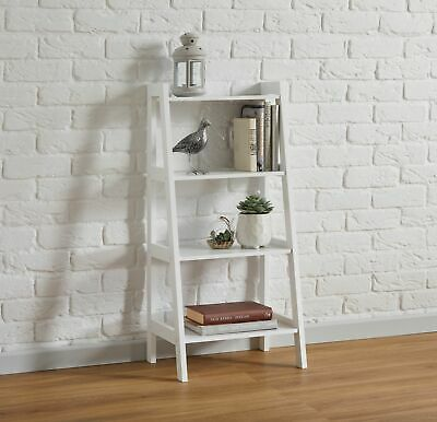 Grey White 4 Tier Ladder Style Storage Shelving Unit Bathroom Living Home House • 39.99£