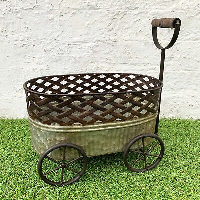 Industrial Antique Metal Plant Stand Garden Patio Planter Trough Cart Trolley  • 29.99£