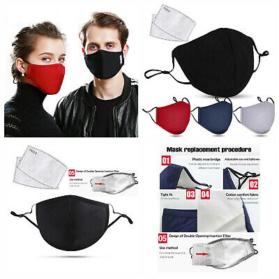 Face Mask With PM2.5 Filter Insert.  Washable Reusable Mask. Unisex, Ladies Mens • 3.50£