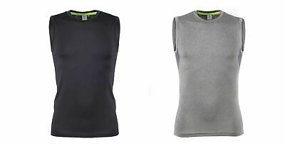 Men's Sleeveless Base Layer Workout T-shirt Slim Fit With Mesh Side Panels TL505 • 3.99£