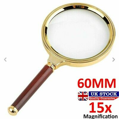 60mm Handheld 15X Magnifier Magnifying Glass Loupe Reading Large   UK Seller • 2.39£