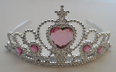 £4.99 • Buy NEW Plastic Silver Childrens Pink Stone Tiara Hair Accessory Bling Party Prom