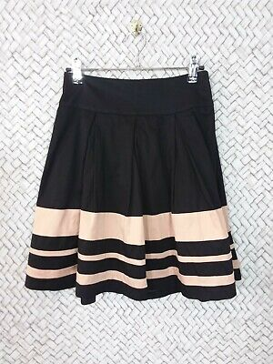 AU20.85 • Buy Forever New Size 6 Black & Tan Striped Skirt With Removable Fabric Waist Tie