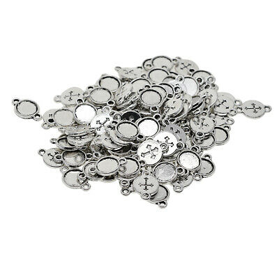 £4.96 • Buy 8mm Tray, Round Cabochon Mount, Connector Settings, Antique Silver, Cross Base,