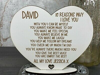 Personalised 10 Reasons Why I Love You, Valenties, Birthday Gift For Him • 5.95£