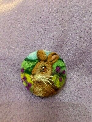 Handmade Needle Felted 'Fleur The Hare' Brooch/Gift • 7.99£