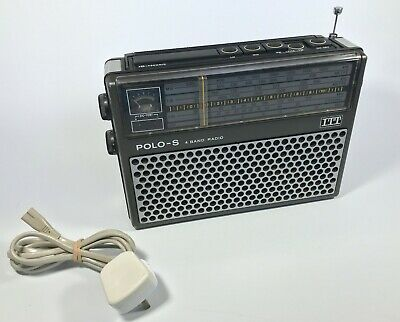 Vintage 1970's ITT Polo - S 4 Band AM / FM Portable Radio Clean & Working Order • 14.99£