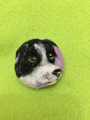 Handmade Needle Felted 'Ozzie The Border Collie Dog' Brooch/Gift • 7.99£