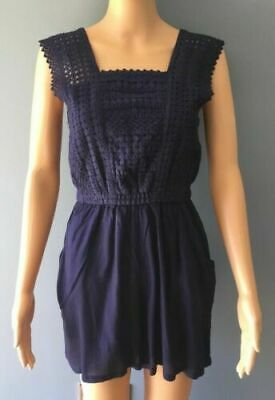 Ladies Summer Party Navy Blue Mini Shorts Part Embroidered Playsuit Size 8 • 2.99£
