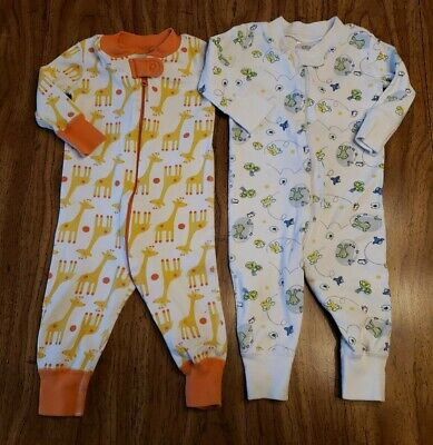 $22.95 • Buy Lot 2 Hanna Andersson Boys One Piece Pajamas 60cm 6-9months Frogs Giraffes