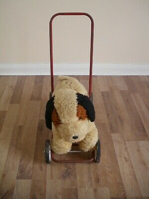TOY DOG ON WHEELS BLUE RIBBON PLAYTHING MADE IN GB BY BE BE DOLLS LTD • 26£