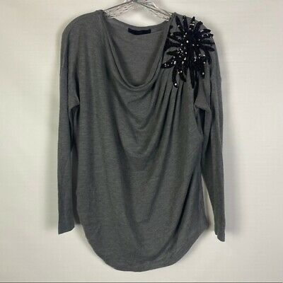 £10.69 • Buy Zara Maternity Gray Long Sleeve Knit Top With Sequin Detail On Shoulder Size M