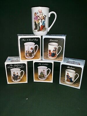 $ CDN12.70 • Buy Vintage Norman Rockwell Coffee Cups Mugs Set Of 6 Museum Collection 1982 & 1986