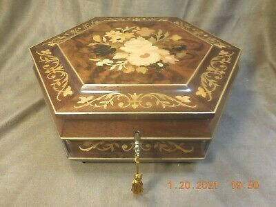 £163.62 • Buy Xl Sorrento Inlaid Locking Musical Jewlery Box W/ Reuge 36 Note Mvmt (see Video)