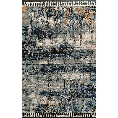 £49.95 • Buy Blue Distressed Rug For Living Room Low Pile Dense Shaggy Rugs Giant Sizes Cheap