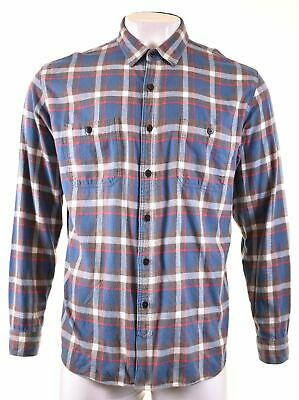 J. CREW Mens Flannel Shirt XL Blue Check Cotton Tailored Fit  MB08 • 16.95£