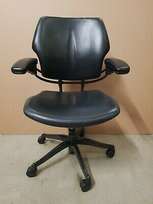 Humanscale Freedom Task Chair Black Leather Hide Arms Computer Home Office  • 225£