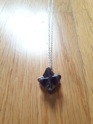 Amethyst Merkaba Star Pendant Sacred Geometry Necklace Gift 925 Silver Stone • 5.75£