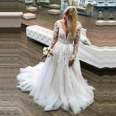 $ CDN202.55 • Buy Princess Long Sleeves Wedding Dresses Appliques Lace Backless Bridal Gown V-neck
