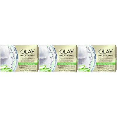 AU32.15 • Buy 3 X Olay Daily Facials Sensitive Water Activated Dry Cloths, 5-in-1 - Cleansing