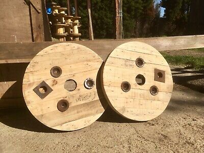 2x Sanded/Upcycled Wooden Timber  Cable Drum/reel/Spool Tops • 45£