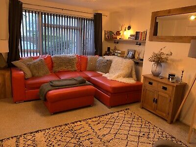 Red Corner Sofa Bed With Storage • 113£