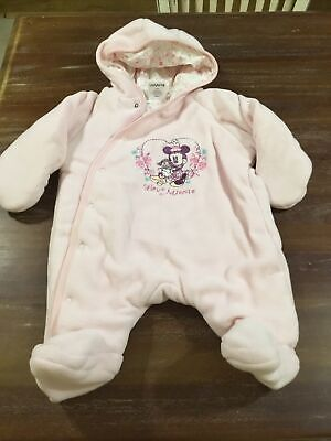 Baby Girl Ladybird Disney Pink Minnie Mouse Snow Suit Size 0-3 Months • 1.40£