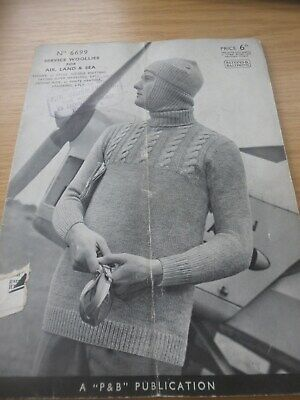 Rare Vintage 1940's Ww2 P&b Knitting Pattern Booklet Woolies For Air Land Sea • 4.99£